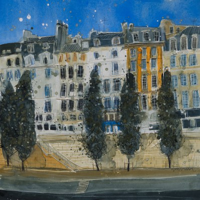 British Artist Susan BROWN - A Walk by the Seine, Paris