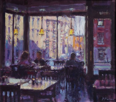 British Artist David FARREN - Late Afternoon Coffee, Greenwich Village