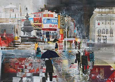 Limited Edition Prints Artist Nagib Karsan - Showers, Piccadilly Circus