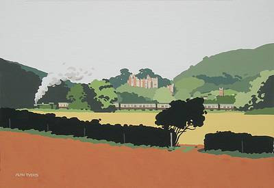 British Artist Alan TYERS - Steaming past Dunster Castle, West Somerset Railway