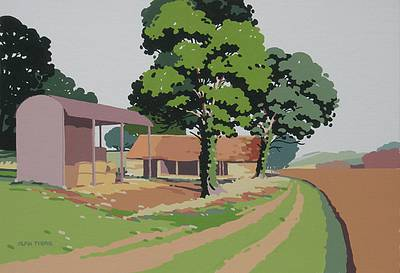 British Artist Alan TYERS - Barns at Dovers Hill, Chipping Campden
