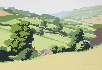 British Artist Alan TYERS - Landscape near Guiting Power, the Cotswolds