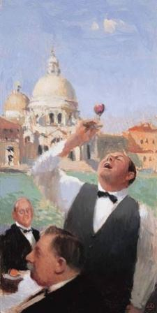 British Artist Alan KINGSBURY - Wine Tasting Grand Canal