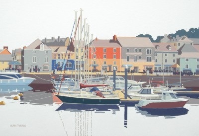 British Artist Alan TYERS - Seven Masts, Padstow Harbour