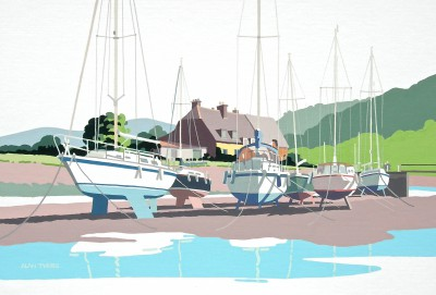 British Artist Alan TYERS - Low tide, Porlock Weir, Somerset