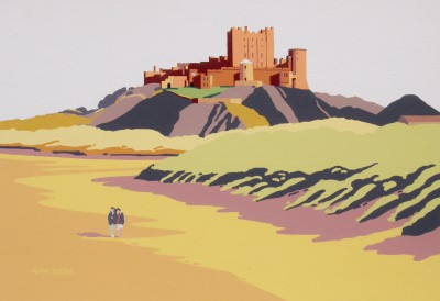 Bamburgh Castle painting by artist Alan TYERS