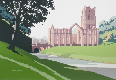 British Artist Alan TYERS - Fountains Abbey, Yorkshire