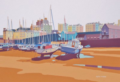 British Artist Alan TYERS - Low Tide, Tenby Harbour