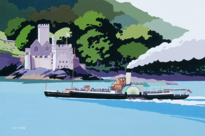 British Artist Alan TYERS - Kingswear Castle passing Dartmouth Castle