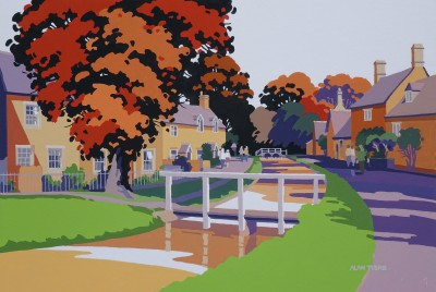 British Artist Alan TYERS - Autumn, Lower Slaughter, The Cotswolds