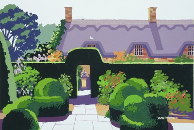 British Artist Alan TYERS - Corner of Hidcote Manor Gardens, The Cotswolds