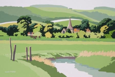 British Artist Alan TYERS - Water Meadows, Amberley, The South Downs