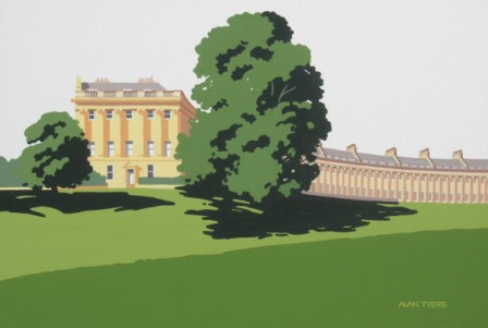 British Artist Alan TYERS - The Royal Crescent, Bath