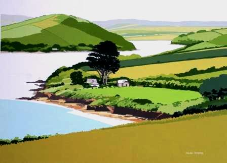 British Artist Alan TYERS - Camel Estuary from the Monument, Padstow