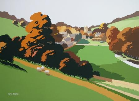 British Artist Alan TYERS - Autumn in the Cotswolds, Naunton