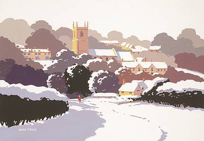 British Artist Alan TYERS - Blockley Village under Snow