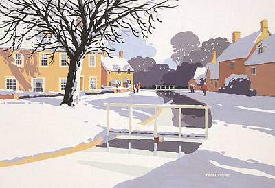 British Artist Alan TYERS - Lower Slaughter under Snow