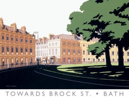 Limited Edition Prints Artist Alan Tyers - Towards Brock Street, Bath