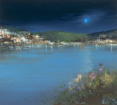 Night-time Reflections on the River Dart painting by artist Amanda HOSKIN