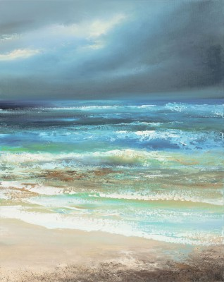 Rain Clouds Approaching over a Cornish Sea painting by artist Amanda HOSKIN