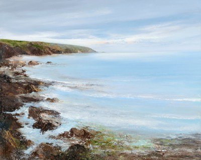 Quiet Morning Light at Polridmouth, Fowey painting by artist Amanda HOSKIN