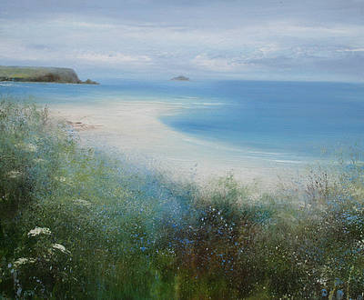 British Artist Amanda HOSKIN - Flowers in May, Harbour Cove, Padstow