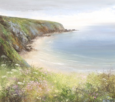 British Artist Amanda HOSKIN - Beautiful Day, Walking the Coastal Path to Fowey