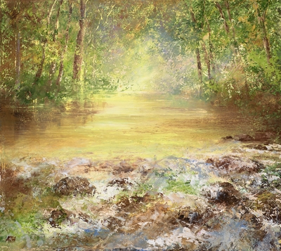 Tumbling Water, the River Fowey painting by artist Amanda HOSKIN