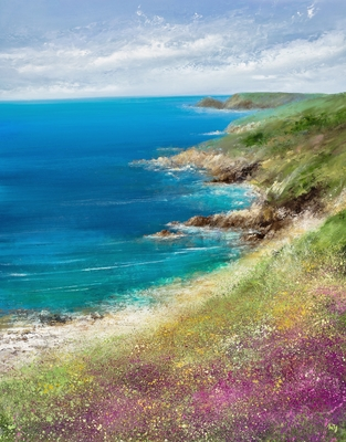 Gorse and Heather on the North Coast painting by artist Amanda HOSKIN