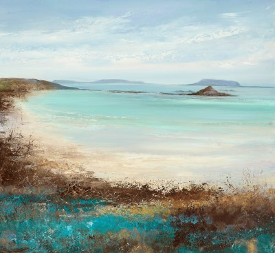 British Artist Amanda HOSKIN - Teal and Turquoise Hue, Tresco