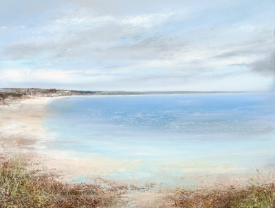 British Artist Amanda HOSKIN - Beautiful Afternoon Light over Mounts Bay, Marazion