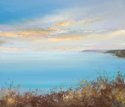British Artist Amanda HOSKIN - Evening Sky over the Dodman, near Fowey