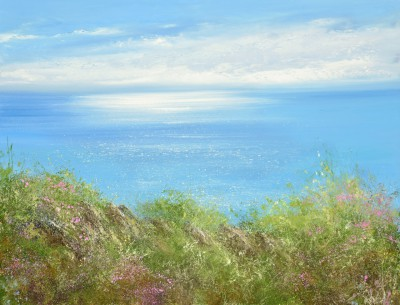 British Artist Amanda HOSKIN - Sea Pinks on the Coastal Path, Gwithian