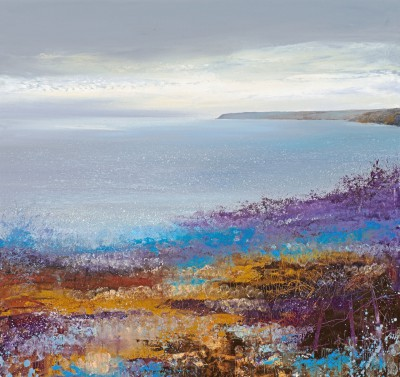 British Artist Amanda HOSKIN - Cornish Light across the Bay, Dodman