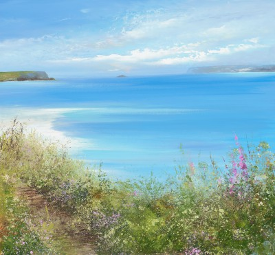 Beautiful Day on the Beach, Padstow painting by artist Amanda HOSKIN