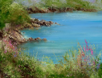 Summer Flowers watch over Kingswear Castle painting by artist Amanda HOSKIN