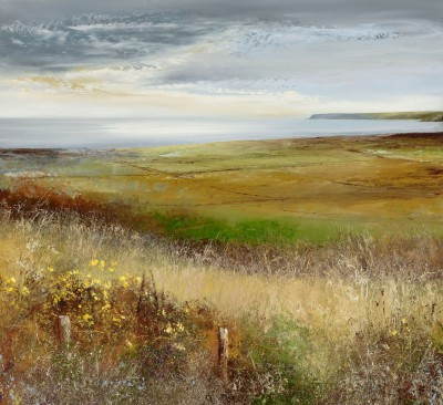 British Artist Amanda HOSKIN - Across the Fields to the Dodman, Cornwall