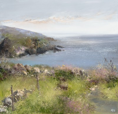 British Artist Amanda HOSKIN - Sea Pinks on the Coastal Path to Gwithian