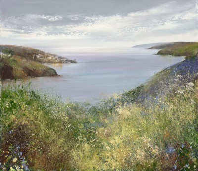 British Artist Amanda HOSKIN - Silver Light over Fowey, the Hall Walk