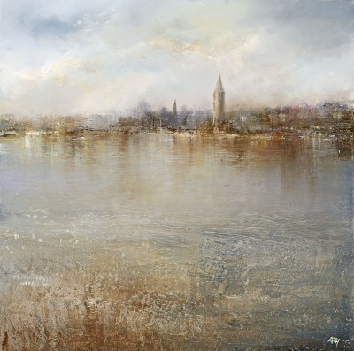 British Artist Amanda HOSKIN - Tranquility on the River Thames