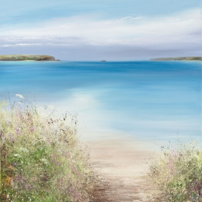 British Artist Amanda HOSKIN - Wild Flowers at Daymer Bay, Padstow