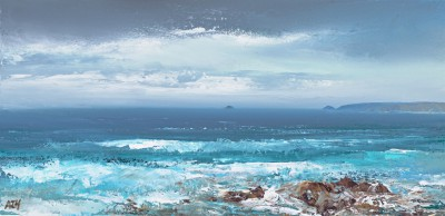 Sea Rushes in at Constantine Bay painting by artist Amanda HOSKIN