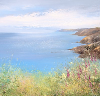 Amanda HOSKIN - Foxgloves watch over the Bay, Fowey