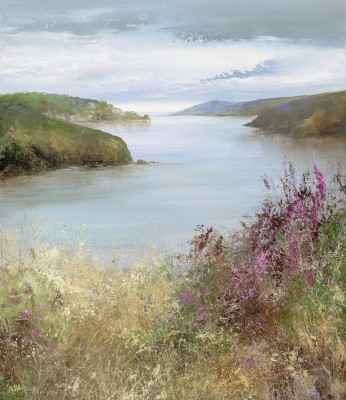 British Artist Amanda HOSKIN - Tranquil Afternoon Looking Towards Fowey