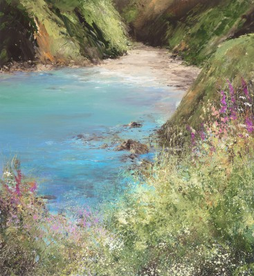 British Artist Amanda HOSKIN - A Moment to Sit and Rest a While, on the Coastal Path to Little Dartmouth