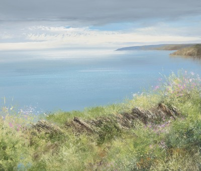 Smokey Blue Sky over Start Point painting by artist Amanda HOSKIN