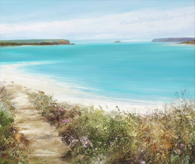 Turquoise Sea at Daymer Bay painting by artist Amanda HOSKIN