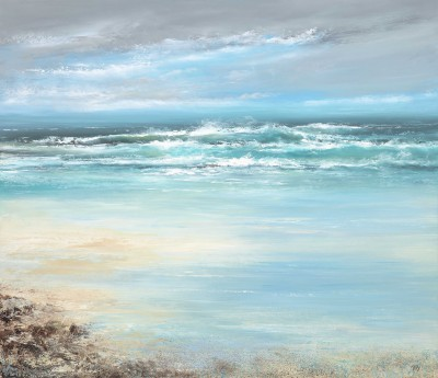 British Artist Amanda HOSKIN - Watching the Waves as they Dance and Roll over the Sands