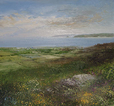 British Artist Amanda HOSKIN - A View to Remember, Godrevy Lighthouse from Zennor
