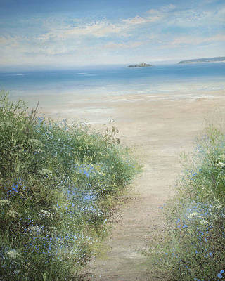 British Artist Amanda HOSKIN - Path down to Godrevy Lighthouse, Cornwall